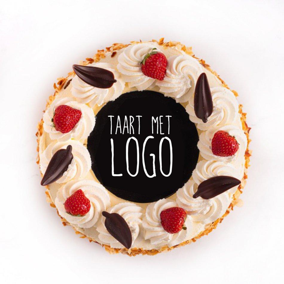 Slagroomtaart rond met logo